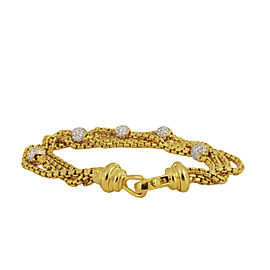 David Yurman 18k Gold Multi Four Strand Diamond Pave Ball Bracelet