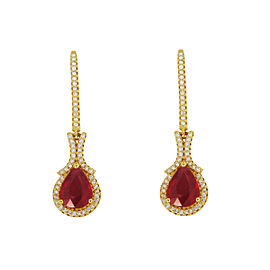 Rubies Long Drop Earrings in Yellow Gold with Diamonds