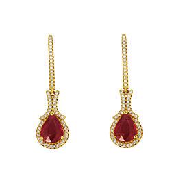 Rubies Long Drop Earrings in Yellow Gold with Diamonds