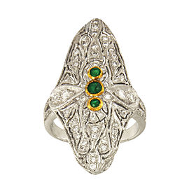 Platinum with 0.4ct Emerald & 1.00ct Diamond Vintage Cocktail Ring Size 6.5