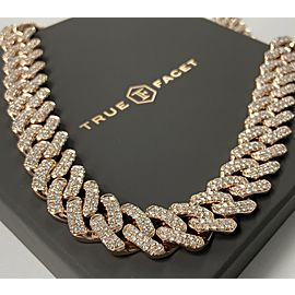 14K Rose Gold Men's 32.06ct Diamond Link Necklace