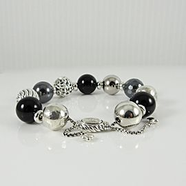 David Yurman Sterling Silver Onyx Hematite Elements Bracelet