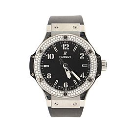 Hublot Big Bang Quartz Watch Stainless Steel and Rubber with Diamond Bezel 38