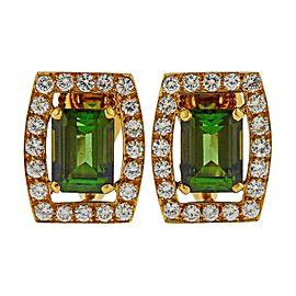 David Webb Green Tourmaline Diamond Gold Earrings