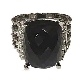 David Yurman Wheaton 925 Sterling Silver Black Onyx and Diamonds Ring Size 7