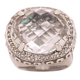 John Hardy Silver White Topaz and Diamond Ring