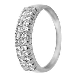 14k White Gold 2 Row Diamond Ring