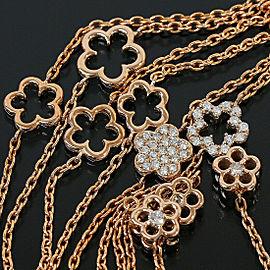 Ponte Vecchio 18k Rose Gold Diamonds Flower Design Necklace Pendant