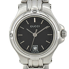 GUCCI 9040L Black Dial SS Date Quartz Ladies Watch