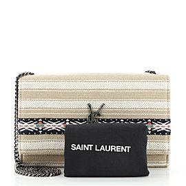 Saint Laurent Classic Monogram Crossbody Bag Striped Canvas Medium