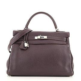 Hermes Kelly Handbag Raisin Clemence with Palladium Hardware 32