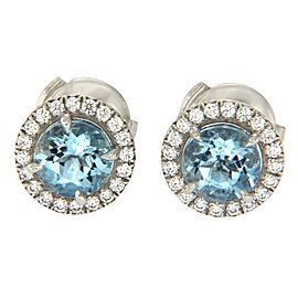 Tiffany & Co. 950 Platinum Aquamarine and Diamonds Stud Earrings