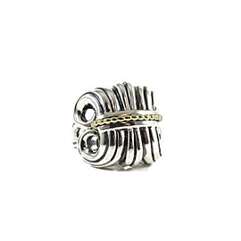 Lagos Sterling Silver 18K Yellow Gold Large Wheat Dome Ring