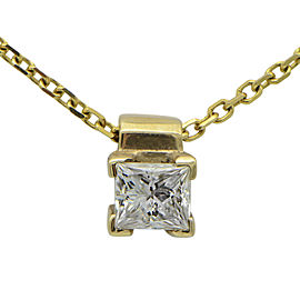 14K Yellow Gold Princess Cut Diamond Pendant