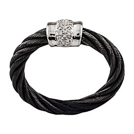 Charriol 18K White Gold and Black Steel Cable with Diamond Black Cable Ring Size 6.25