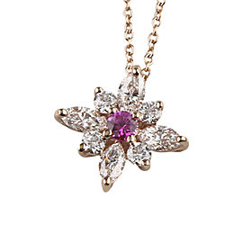 18K Rose Gold with Kwiat 0.80ct Diamond and 0.15ct Pink Sapphire Star Cristie Kerr Pendant Necklace