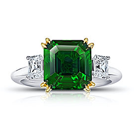Platinum 18K Yellow Gold 5.07ctw. Tsavorite 1.13ctw. Diamond Ring Size 7