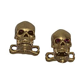 Deakin & Francis 18K Yellow Gold & Ruby Skull Cufflinks