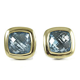 David Yurman Sterling Silver 18K Yellow Gold 14mm Blue Topaz Albion Earrings
