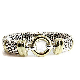 Lagos Sterling Silver 18K Yellow Gold 15mm Circle Game Caviar Bracelet