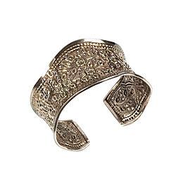 Sterling Silver Repousse Floral Motif Cuff Bracelet