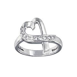 Tiffany & Co. 18k White Gold Paloma Picasso Diamond Loving Heart Ring Size 5.5