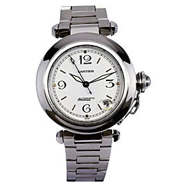 Cartier Pasha C 2324 Stainless Steel & White Dial 35mm Unisex Watch