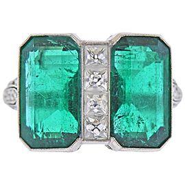 Art Deco 9.55 Carat Emerald Diamond Platinum Ring