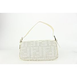 Fendi 8BR000 White Woven Patent Leather Baguette Bag 823ff20