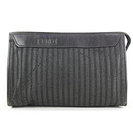 Fendi Black Pequin Stripe Cosemtic Pouch Make Up Case 54ff115