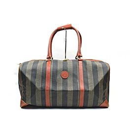Fendi Pequin Stripe Boston Duffle Boston Bag 858259