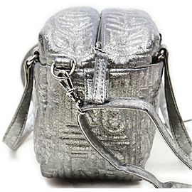 Fendi Embossed Silver 2way Mini Boston Bag with Strap 863156