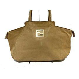 Fendi Chains Tote Suede Tote 239785 Beige Nubuck Shoulder Bag