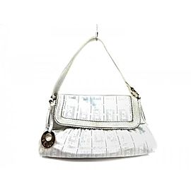 Fendi Chef Perforated Charm 239768 White Leather Satchel