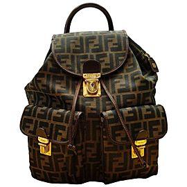 Fendi Ff Monogram Zucca Twin Pocket Classic 239751 Dark Brown _ Gold Canvas Leather Backpack