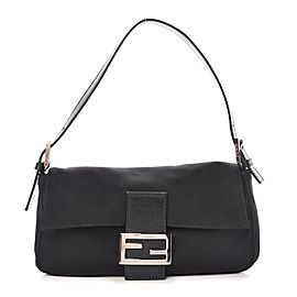Fendi Foever Ff Baguette 239755 Black Neoprene Shoulder Bag