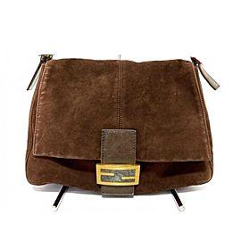 Fendi Forever Mama Flap Logo Ff 239753 Brown Suede Leather Shoulder Bag