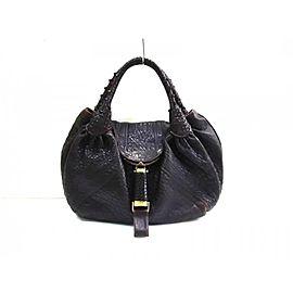 Fendi Hobo Large Chocolate Spy Woven Handle 239775 Dark Brown Leather Satchel
