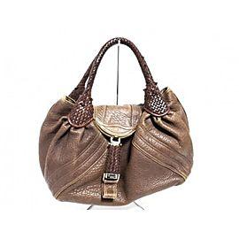 Fendi Hobo Large Spy Woven Handle 239788 Brown Leather Shoulder Bag