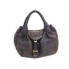 Fendi Hobo Lerge Spy Woven 239779 Dark Brown Leather Satchel