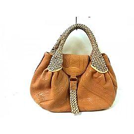 Fendi Hobo Spy Woven 239771 Brown Leather Satchel