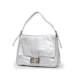 Fendi Ice Crystal Mama Forever Flap Ff 239719 Silver Leather Shoulder Bag