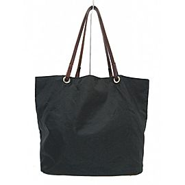 Fendi Logo Shopper 239774 Black X Dark Brown Nylon Leather Tote