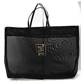 Fendi Large Mesh Black FF Tote Bag 857860