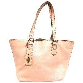 Fendi Pearl Selleria 239787 Pink Leather Tote