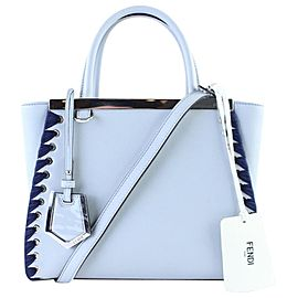 Fendi Petite 2jours Whipstich 1fr0131 Pale Blue Leather Satchel