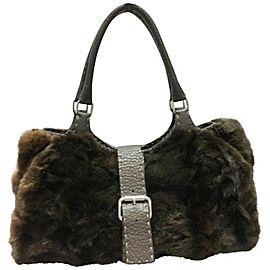 Fendi Selleria Leather 239773 Brown Rabbit Fur Shoulder Bag