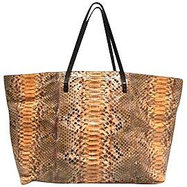 Fendi Shopper 239770 Orange X Black X Brown Python Skin Leather Tote