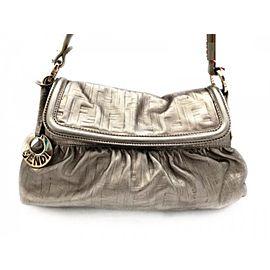 Fendi Shoulder Bag Embossed Flap 239769 Silver Leather Satchel