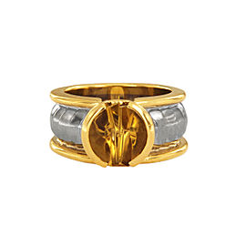 Georg Jensen 18k Two Tone Gold Citrine Ring